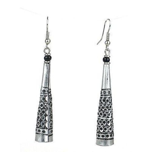 Handmade Stamped Recycled Cooking Pot 'Cone' Earrings