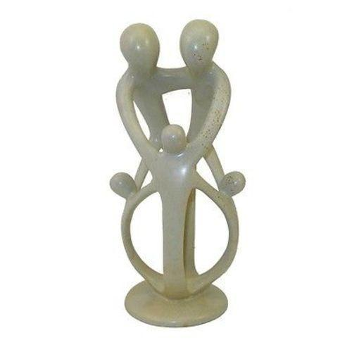 Handcrafted Natural Soapstone Family Sculpture - 2 Parents, 3 Children