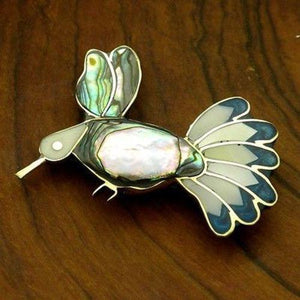 Handmade Alpaca Silver Abalone and Mother of Pearl Hummingbird Pin