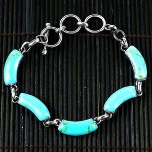 Handcrafted Mexican Alpaca Silver and Turquoise Curve Bracelet