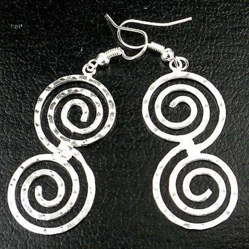 Handmade Hammered Scroll Silver Overlay Earrings