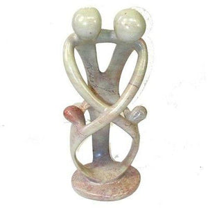 Natural 10-inch Tall Soapstone Family Sculpture - 2 Parents 2 Children Handmade and Fair Trade
