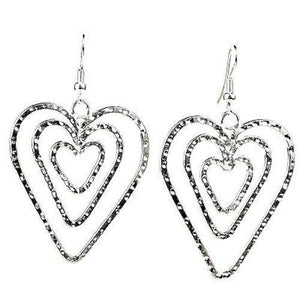 Handmade Triple Heart Silver Overlay Earrings