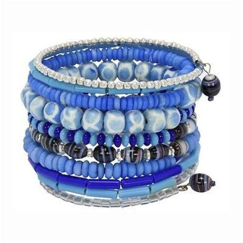 Handmade Light Blue Ten Turn Bead and Bone Bracelet