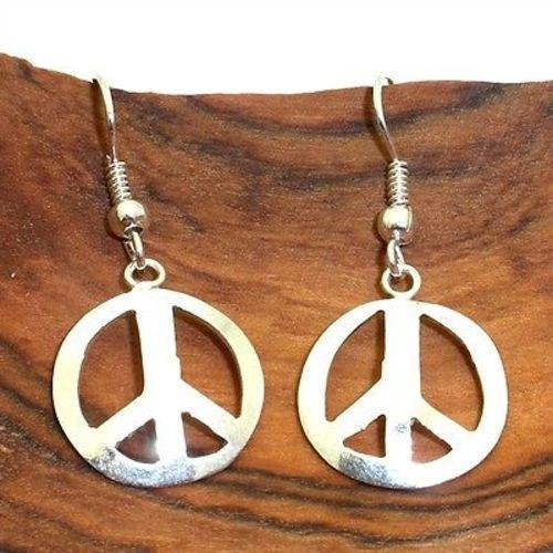 Handmade Alpaca Silver Peace Symbol Earrings
