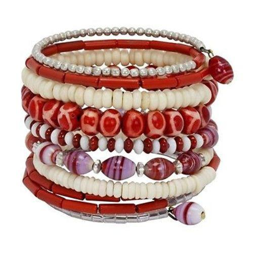 Handmade Red and White Ten Turn Bead and Bone Bracelet