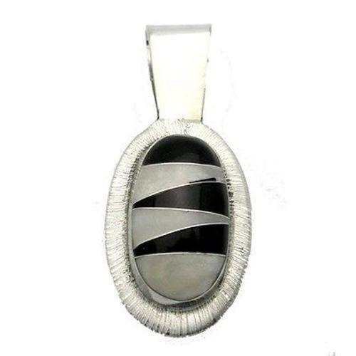 Handmade Onyx and Mother of Pearl Zig Zag Pendant