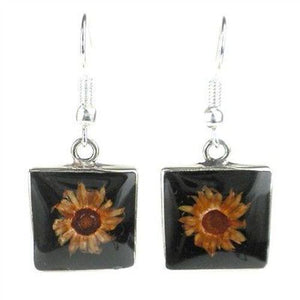 Handmade Small Square Nahua Flower and Alpaca Silver Earrings
