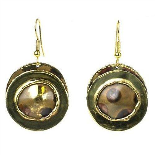 Handmade Encircled Spots Brass Earrings
