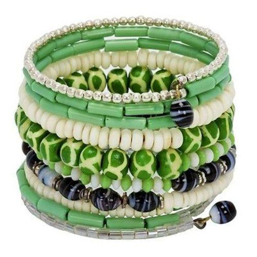 Handmade Forest Green Ten Turn Bead and Bone Bracelet