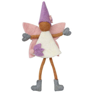 Handcrafted Felted Tooth Fairy with Purple Hat