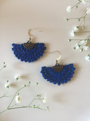 Crocheted Fan Earrings Small