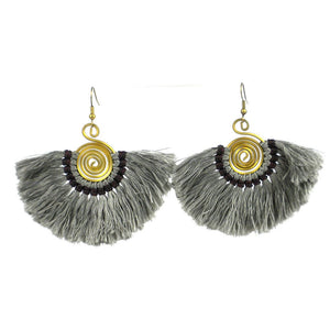 Handmade Flamenco Gunmetal Fringe Earrings