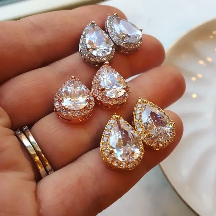 Tear Drop Diamond Stud Earrings