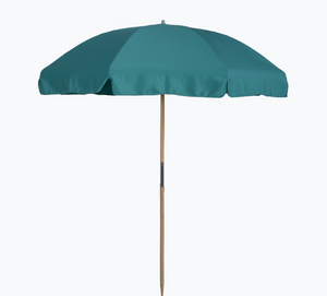 7.5 Ft Beach Umbrella with Fiberglass Ribs, Wood center pole with button for easy breakdown and Pointed bottom pole for insertion in Sand