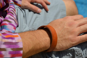 Men's Leather Snap Bracelet
