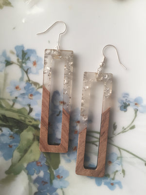 Sparkle Resin Rectangle Earrings