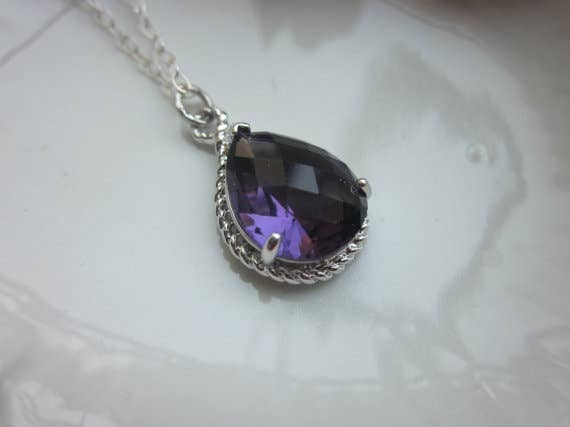 Amethyst Necklace Silver Purple Teardrop