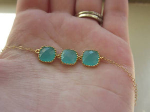 Aqua Blue Mint Necklace Gold Plated