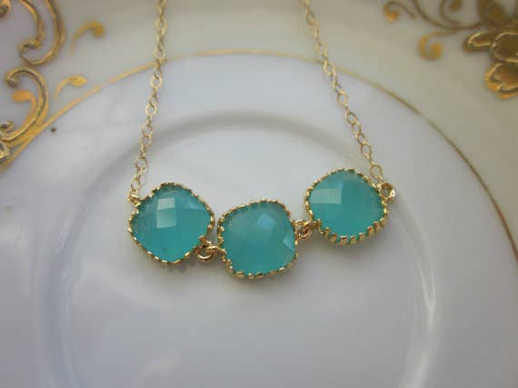 Handmade Aqua Blue Mint Necklace Gold Plated