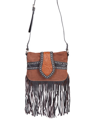 Suede and leather trim fringe handbag