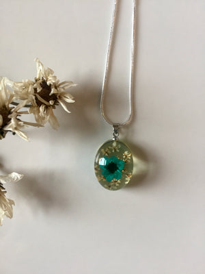 Resin Teal Floral Pendant