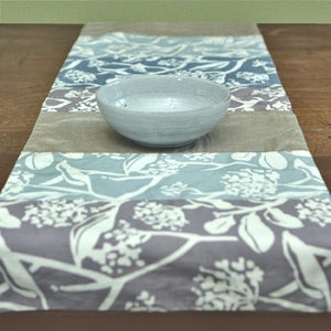 Long turquoise grey table runner
