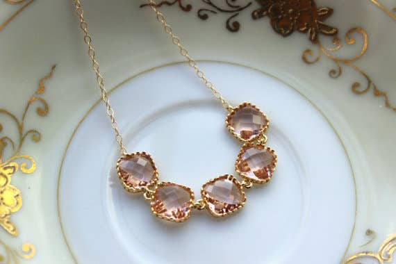 Handmade Champagne Blush Necklace Gold