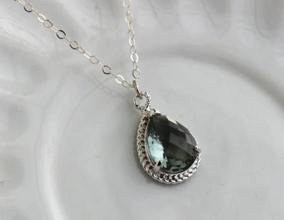 Handmade Charcoal Gray Necklace Silver