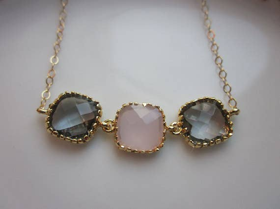 Handmade Charcoal Gray Pink Opal Gold Plated Necklace