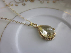 Citrine Necklace Teardrop on 14k Gold