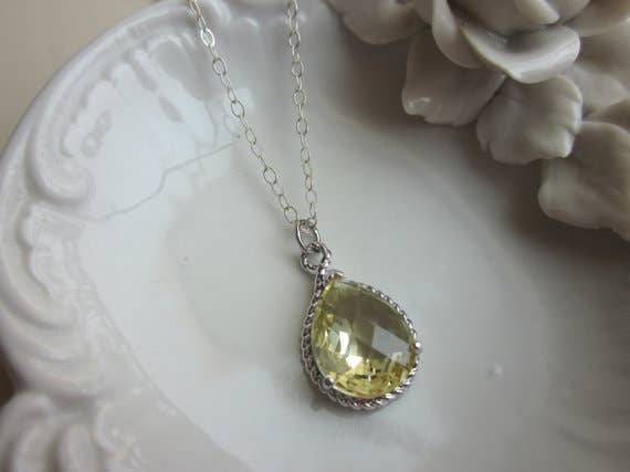 Citrine Necklace Yellow Teardrop