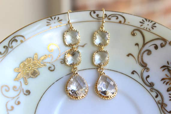 Crystal Gold Plated Clear Three Tier Earrings