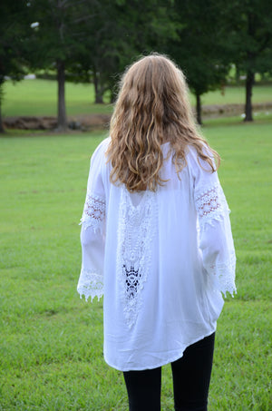 Hi/Low White Crochet Blouse