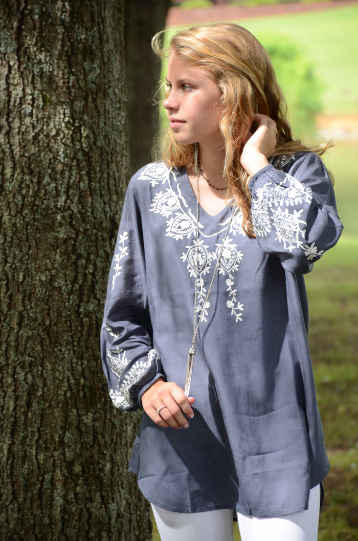 Embroidered Long Sleeve Blouse