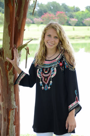 Cold Shoulder Georgette Tunic