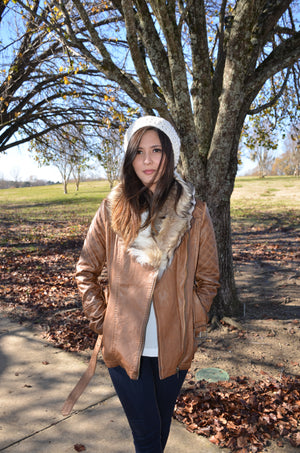 Classic Brown Leather Fur Jacket