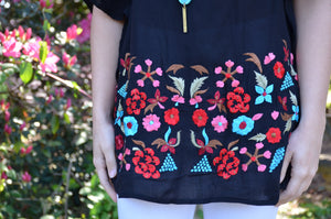 Boho Black Embroidered Blouse