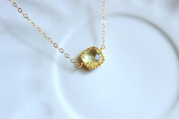 Dainty Citrine Yellow Necklace Gold