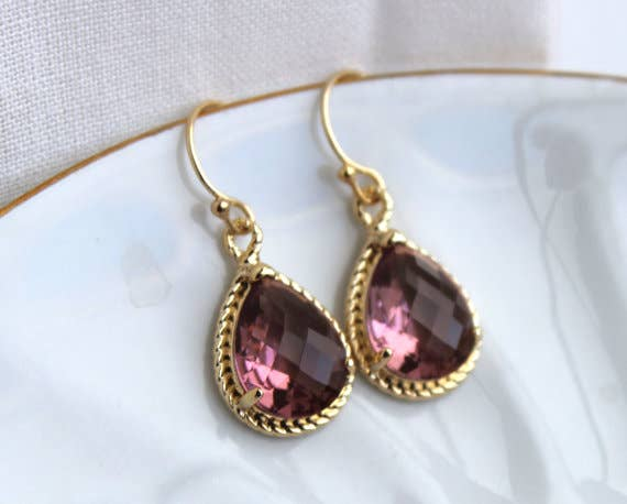 Eggplant Plum Earrings Purple Gold