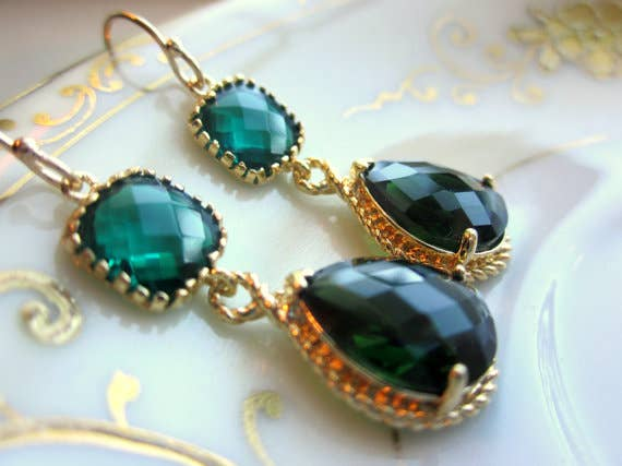 Emerald Green Earrings Gold Pendant