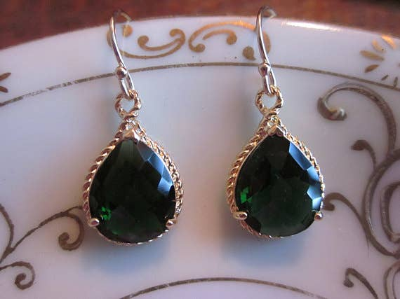 Handmade Emerald Green Earrings Teardrop Gold