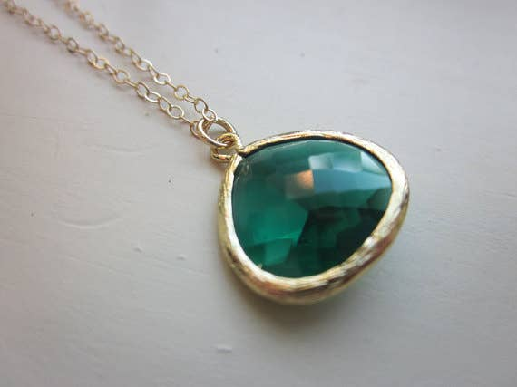 Handmade Emerald Green Necklace Gold Plated