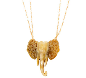 Elephant Pendant Bull Horn Necklace
