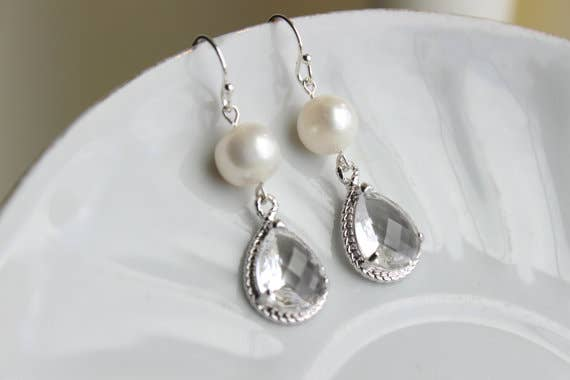 Handmade Freshwater Pearl Crystal Earrings
