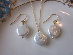 Freshwater White Coin Pearl Jewelry Set