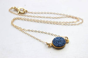 Gold Blue Druzy Necklace