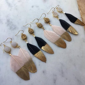 Handmade Gold Dipped Feather Earrings