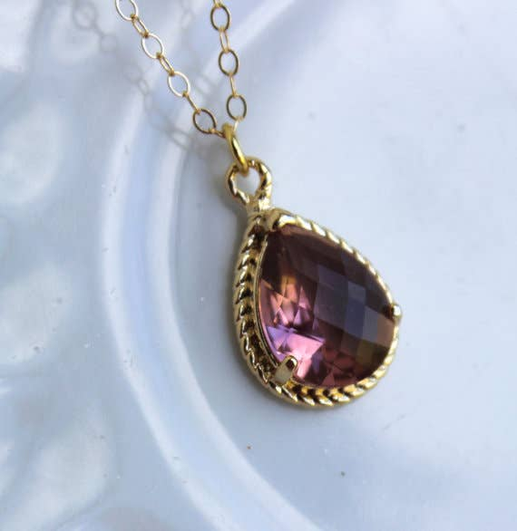 Handmade Gold Eggplant Necklace Purple Jewelry