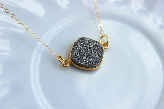 Handmade Gold Gray Druzy Necklace